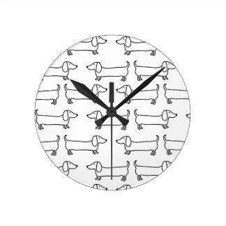 Horloge Ronde Teckel dans noir-blanc