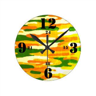 Horloge Ronde Temps de militaires de bruns et de verts de