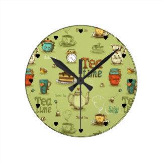 Horloge Ronde Temps de thé et de thé de miel en vert