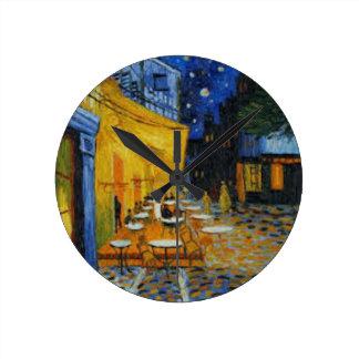 Horloge Ronde Terrasse de Café le nuit de Vincent Van Gogh