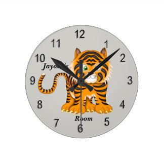 Horloge Ronde Tigre de bébé mignon de l'horloge de l'enfant