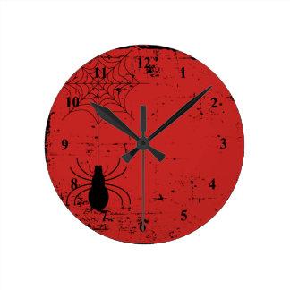 Horloge Ronde Toile d'araignée rouge sang d'araignée de