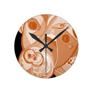 Horloge Ronde Tons de sépia de pitbull