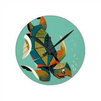Horloge Ronde Tortue de mer australienne gaie