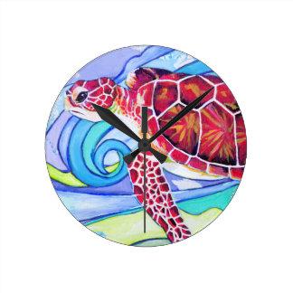Horloge Ronde Tortue de Surfin