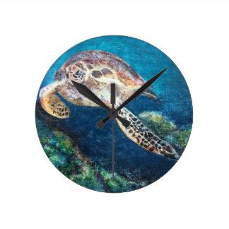 Horloge Ronde Tortue et un récif coralien