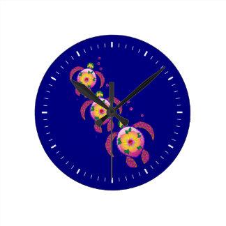 Horloge Ronde Tortues de mer hawaïennes d'Ohana Honu