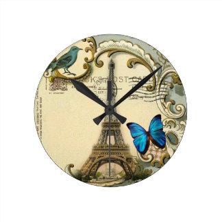 Horloge Ronde Tour Eiffel vintage de Paris de remous de bleu de
