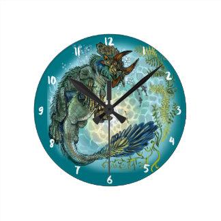 Horloge Ronde Tri-turtletops dinosaure