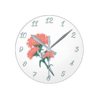 Horloge Ronde Trois oeillets roses