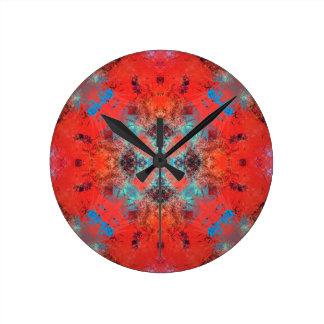 Horloge Ronde turquoise du sud-ouest et conception orange de