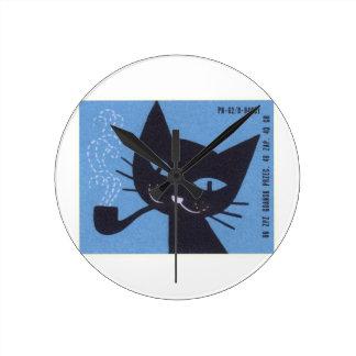 Horloge Ronde Tuyau de tabagisme polonais de chat d'étiquette de