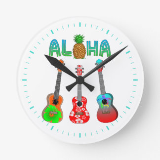 Horloge Ronde Ukulélé hawaïenne Aloha Hawaï