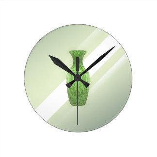 Horloge Ronde Vase vert décoratif