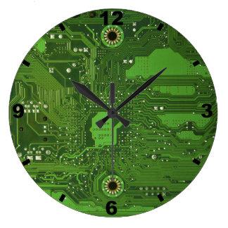 Horloge ronde VERTE de CARTE MÈRE grande