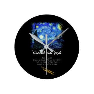 Horloge Ronde Vincent van Gogh. Art de poème de peinture de nuit