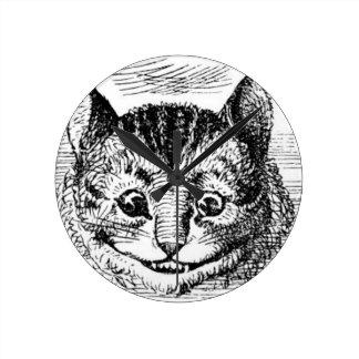 Horloge Ronde Visage de chat de Cheshire