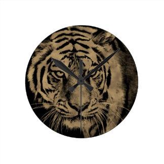 Horloge Ronde Visage de tigre