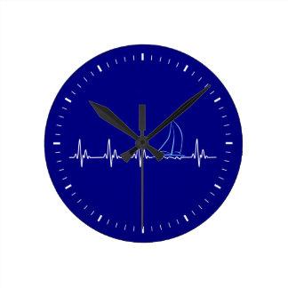 Horloge Ronde Voilier drôle de battement de coeur de navigation