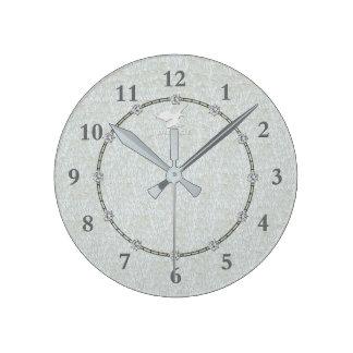 Horloge Ronde Vraie vente décorée moderne argentée de l'horloge