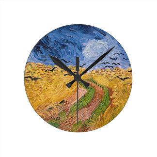 Horloge Ronde Wheatfield de Vincent van Gogh | avec des