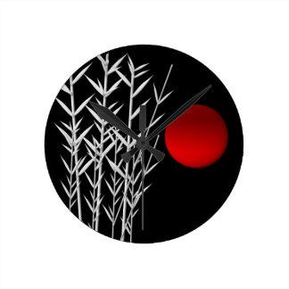 Horloge Ronde Zen rouge de blanc de noir du soleil