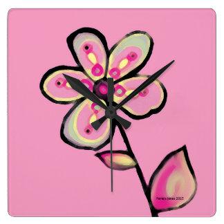 Horloge rose de fleur