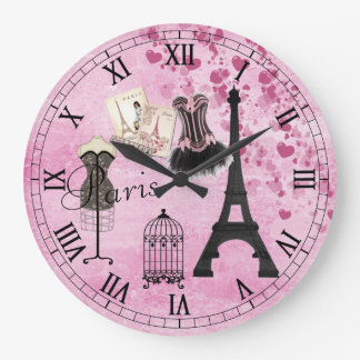 Horloge rose Girly chic de mode de Paris