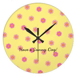 Horloge rose heureuse de motif de fleur