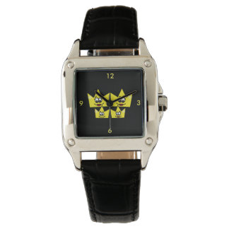 Horloge Square de Couro Noir - Famille Homosexuel Montres Bracelet