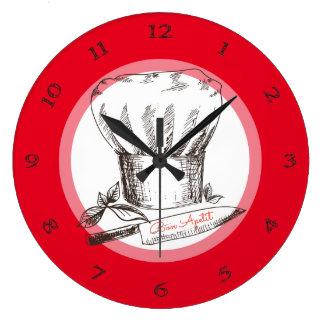 Horloge tirée par la main de cuisine de couteau de