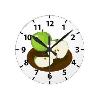 Horloge verte de cuisine de pommes