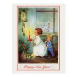 Horloge vintage d'enfants de bonne année cartes postales