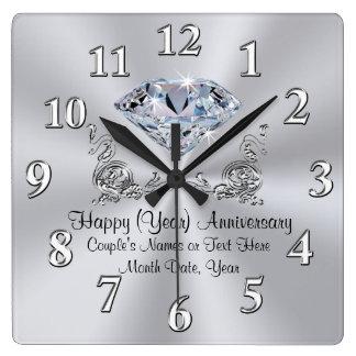 Horloges d'anniversaire de diamant avec votre