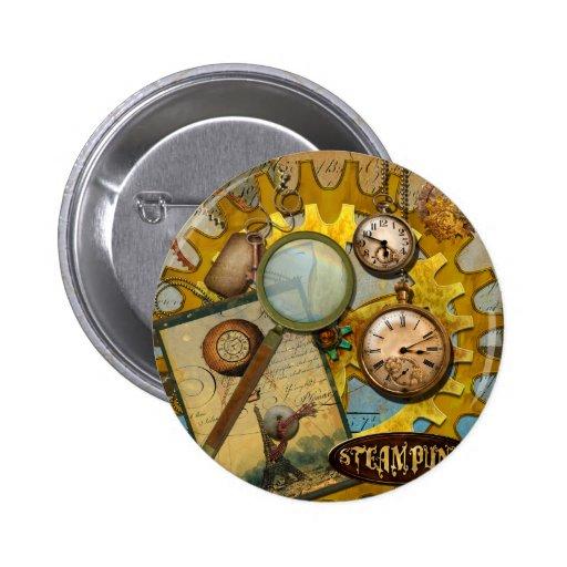 Horloges et temps de Steampunk Pin's Avec Agrafe