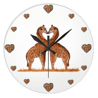 Horloges mignonnes d'amour de girafes