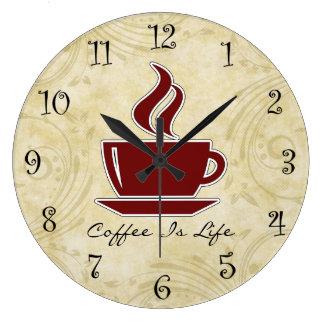 Horloges murales de cuisine de café