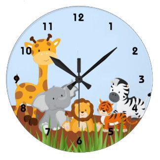Horloges murales mignonnes bleues d'animaux de
