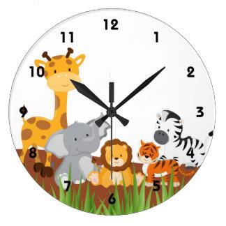 Horloges murales mignonnes d'animaux de bébé de