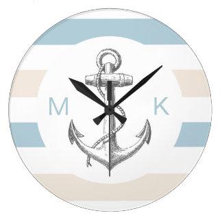 Horloges nautiques de décor de mur de monogramme