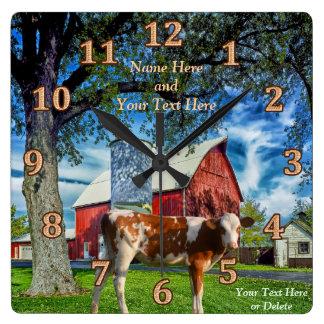 Horloges personnalisées de vache et de ferme à