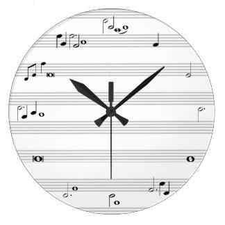 Horodateur de note de musique - noir et blanc grande horloge ronde
