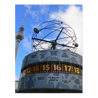 Horodateur du monde avec la tour de Berlin TV, Carte Postale