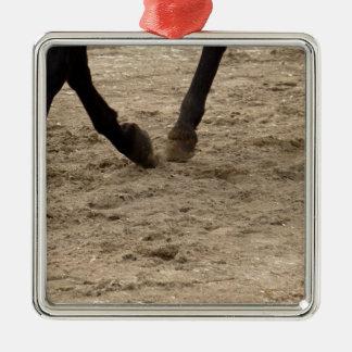 Horse hooves ornement carré argenté