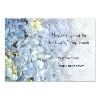 Hortensia bleu épousant la carte de réponse de carton d'invitation 8,89 cm x 12,70 cm