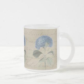 Hortensia bleu vintage avec la calligraphie mug en verre givré