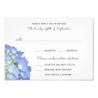 Hortensia de lune bleue épousant des cartes de carton d'invitation 8,89 cm x 12,70 cm