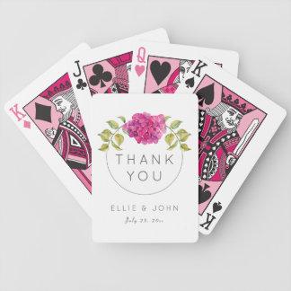 Hortensia de roses indien de faveur de mariage cartes à jouer