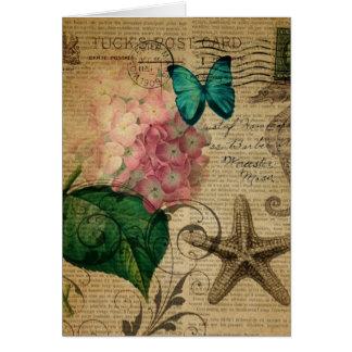 Hortensia floral de coquillage botanique français carte de vœux