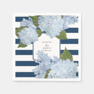 Hortensia rayé blanc nautique de bleu marine serviette jetable